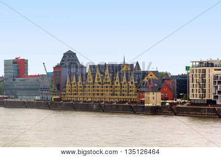 COLOGNE, GERMANY - MAY 17, 2013: There are luxury modern houses on the territory of the former port.