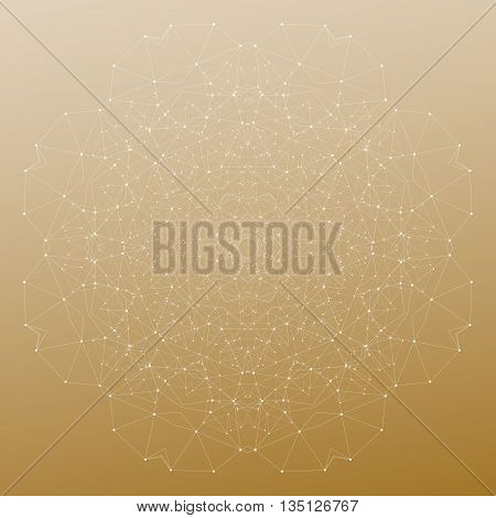 Abstract polygonal low poly backdrop with connecting dots and lines, mandala on golden background, connection structure. Digital or science vector.