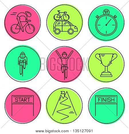 Set of 9 Bicycle Race modern linear icons. Black outline templates of cycling in colorful circles isolated on white. background. Bicycling elements made in trendy thin line style vector.