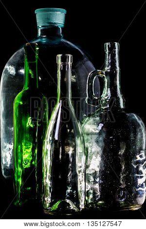 Glass Bottle, Empty, Original, On Black Background