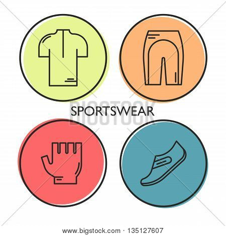 Set of 4 Bicycle Sportswear modern linear icons. Black outline templates of cycling in colorful circles isolated on white. background. Sports wear elements made in trendy thin line style vector.