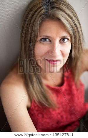 Attractive Middle Aged Woman Looking At The Camera