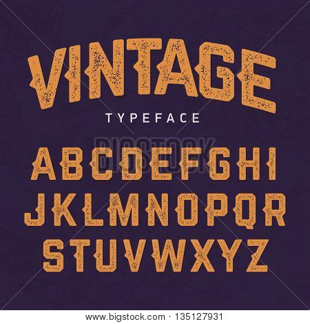 Vintage typeface, retro style font vector illustration