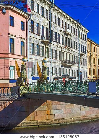 The lion's bridge through Griboyedov Canal. St. Petersburg. Russia