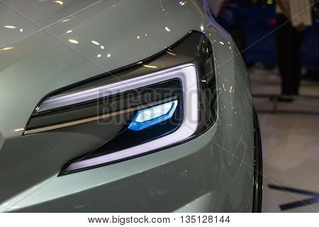 The Closeup Front Headlight car in motor show
