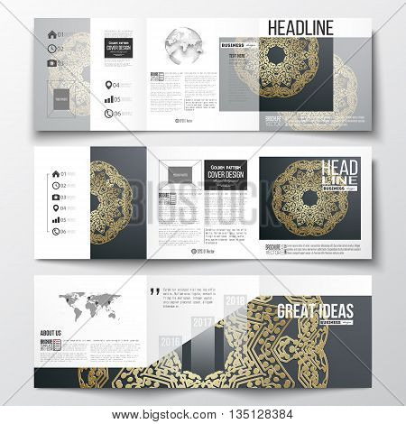 Set of tri-fold brochures, square design templates with element of world map and globe. Golden microchip pattern on dark background, mandala template with connecting dots and lines