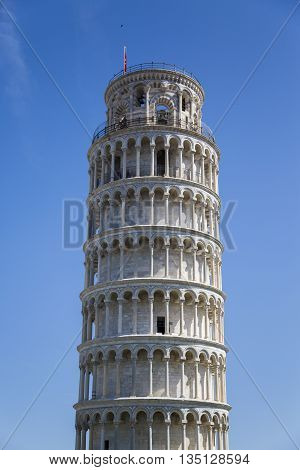 PISA ITALY- MAY 28 2016: Leaning Tower of Pisa in Tuscany one of the most recognized and famous buildings in the world. The height of the tower is 55.86 metres