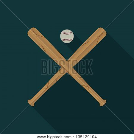 Baseball icon with two wooden baseball bats and Ball a long diagonal shadow vector illustration.