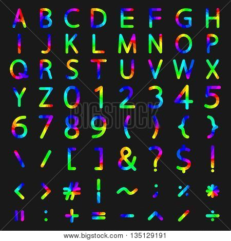 Set of rainbow elements the alphabet and numbers symbols mathematical operations with rounded corners vector illustration.