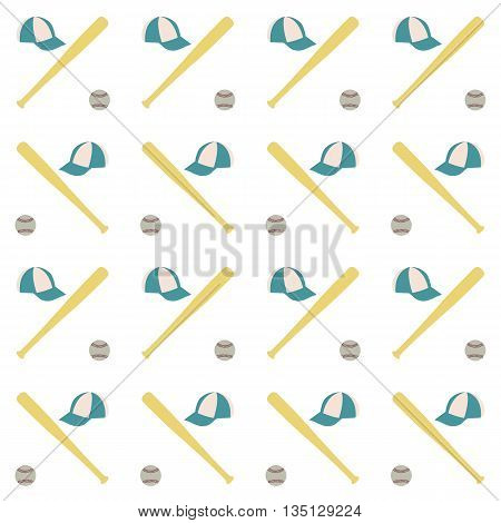 Sports seamless background with elements of the equipment for baseball baseball bat cap and Ball vector illustration.