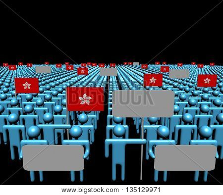 Crowd of people with signs and Hong Kong flags 3d illustration