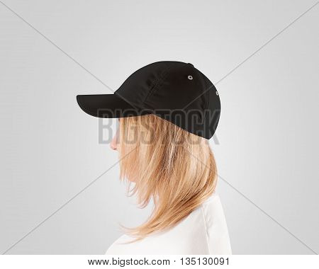 Blank black baseball cap mockup template, wear on women head, profile, isolated. Woman in gray hat and t shirt uniform mock up holding visor of caps. Cotton basebal cap design on delivery guy.