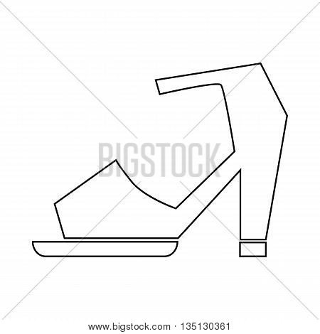 High heel shoe with ankle strap icon in outline style on a white background