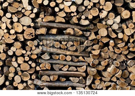 The section of the firewood logs stacked up on top of each other in a pile