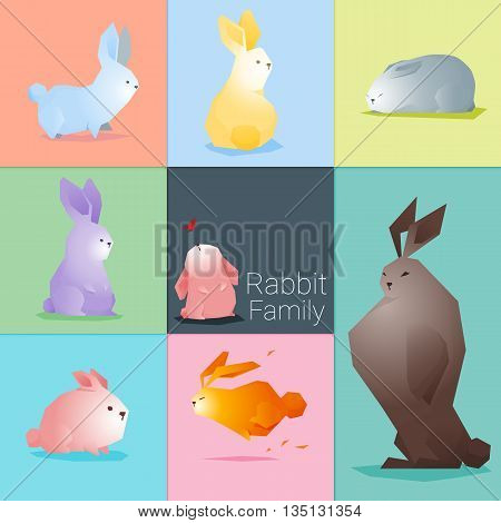Set of rabbit family , vector , illustration