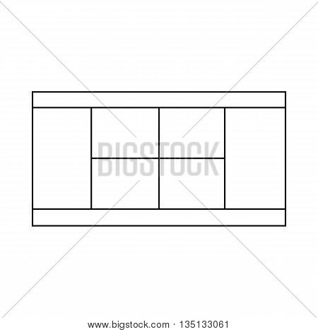 Tennis court icon in outline style on a white background