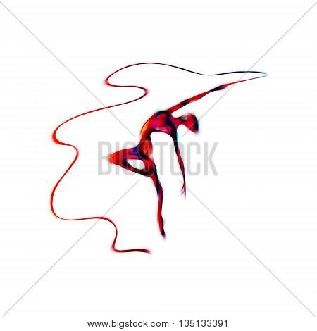 Creative silhouette of gymnastic girl. Art gymnastics with ribbon, illustration or banner template in trendy abstract colorful neon waves style on white background