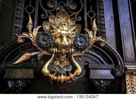 A lion door knocker on a door in Argentina
