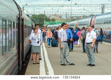 Moscow Russia - June 14.2016. Passengers going to the train at the Kazan station