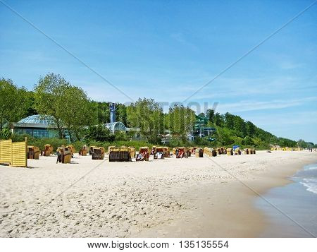 Timmendorfer Strand Germany - May 23 2008: View of the thermal bath Ostsee-Therme in Timmendorfer Strand at the beach - naturism beach ahead