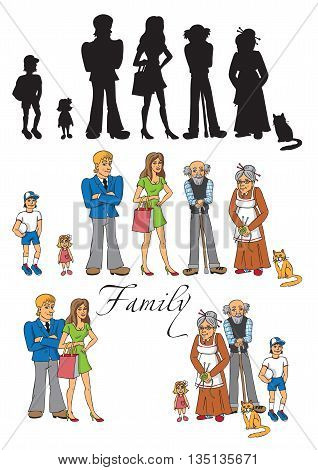 illustration of a big family - mom dad grandma grandpa son daughter cat characters separately in a group