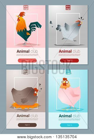 Set of templates with chicken for web design, vector, illustration