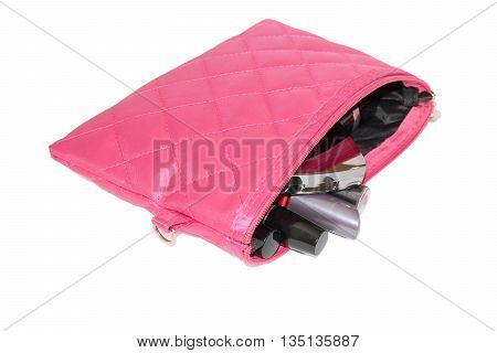 Set Of Women's Cosmetics In Pink Bag
