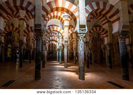 CORDOBA, SPAIN- JUN 3: Interior of  Mosqueâ??Cathedral of Cordoba on Jun 3, 2014. This is a medieval Islamic mosque that was converted into a Roman Catholic Christian cathedral.