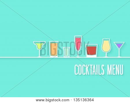 Cocktails Creative Colorful Paper Menu. Vector illustration.