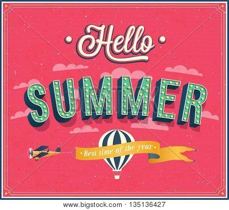 Hello summer creative typographic design. Vector illustration.