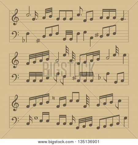 Music Note Sheet Pattern. Old Style Vector illustration