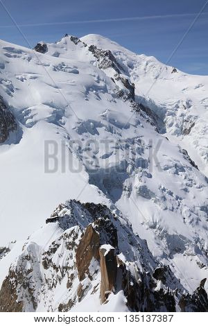 Mont Blanc Summit from Aiguille du Midi. Chamonix. France