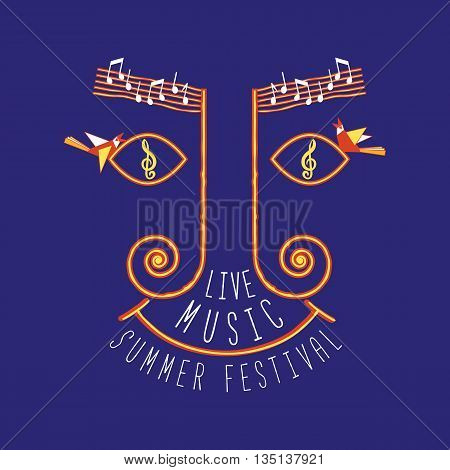 Live music festival. Summer outdoor concept. Template Design for Poster. Idea for Live Musical show, promotion, entertainment, advertisement background. Vector illustration.