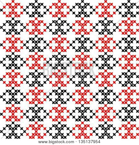Seamless embroidered texture of abstract flat black and red patterns