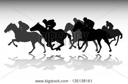 horse race silhouettes - vector