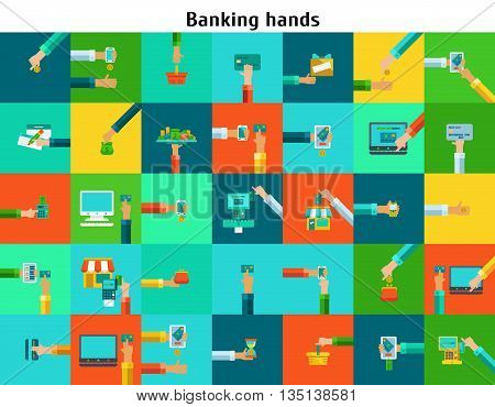 Colored Icons Set of banking hands with cash