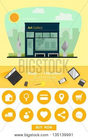 Shop and flat icons for e-commerce Art gallery, vector, illustration