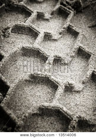trace of tyre in the sand