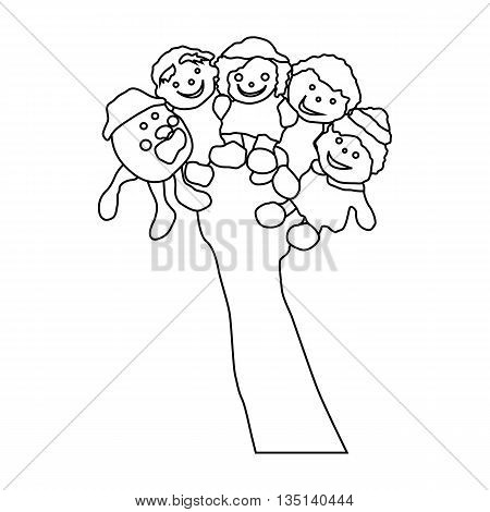 Hand wearing five finger puppets icon in outline style on a white background