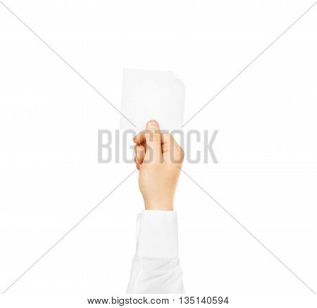 Hand holding square blank white sticker mock up isolated. Sticker mockup holder. Empty paper clue remnder hold in hands.