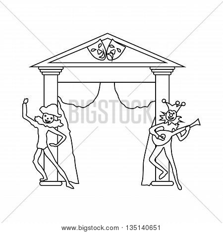 Theater stage with open curtains and two actors icon in outline style on a white background