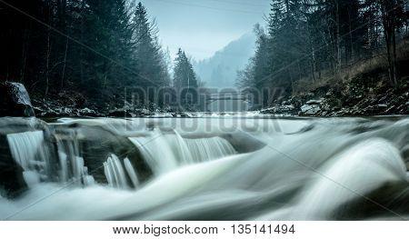 beautiful landscape with river in Carpathian mountains, Ukraine