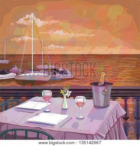 Romantic sunset dinner for two on the sea beach with wine, illustration of a served restaurant table, copy space for text