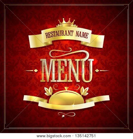 Chic restaurant menu vector design with golden ribbons, frame and headline against chic dark red damask backdrop