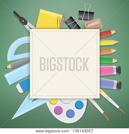 Illustration vector poster supplies stationery an extensive range of study or office is on the green blackboard.
