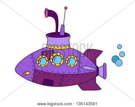 Purple submarine cartoon
