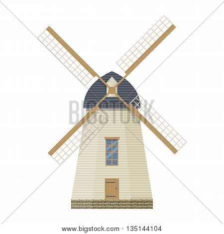 Windmill vector illustration isolated on a white background