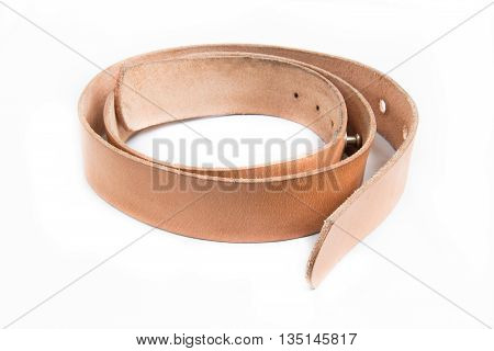 leather belt isolated on white background , brown belt