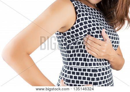 Breast cancer self check isolated on white background