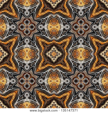 Abstract decorative brown and silver texture - kaleidoscope pattern
